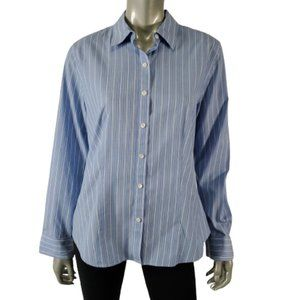 Talbots Button Up Top 12 Wrinkle Resistant Blue